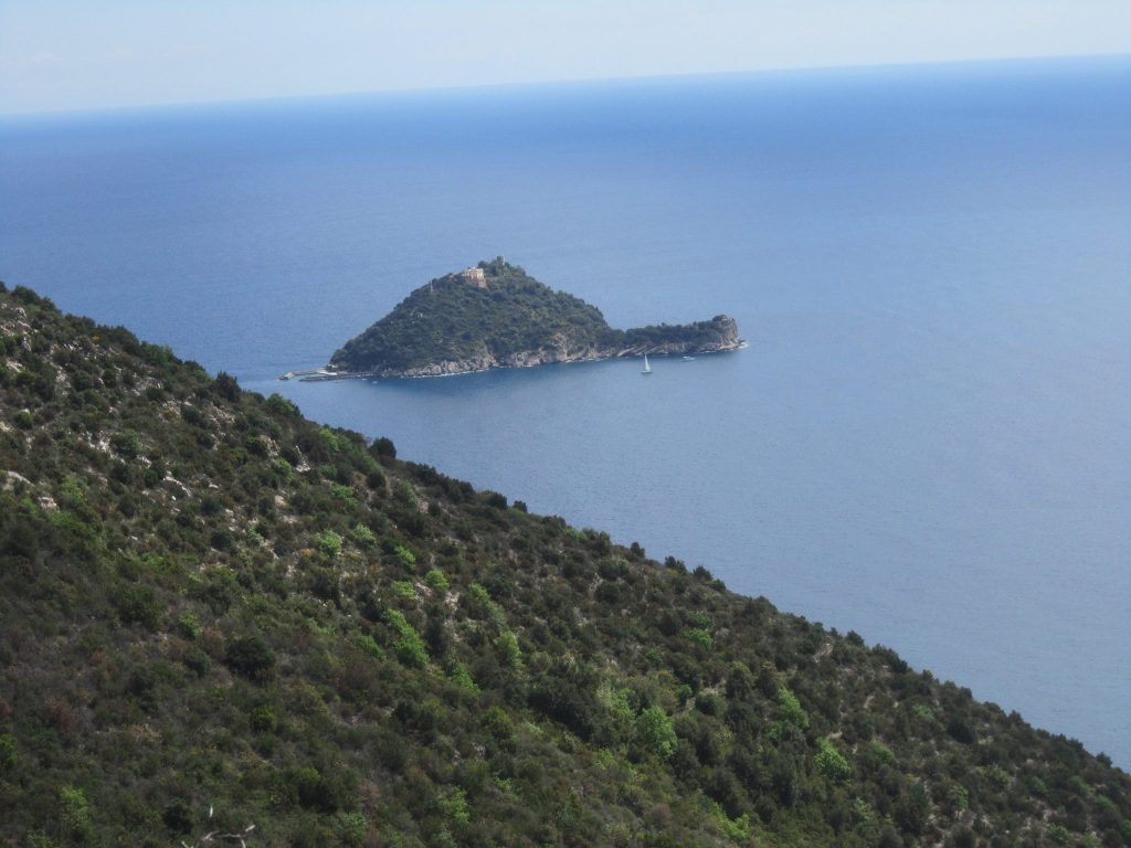 View of the Gallinara island from the Via Julia Augusta