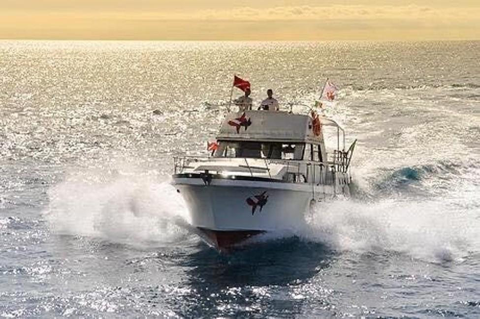 barca in navigazione ad alassio per avvistamento cetacei